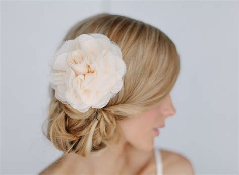 hair chiffon pastel peach chiffon wedding hair flower onewed com