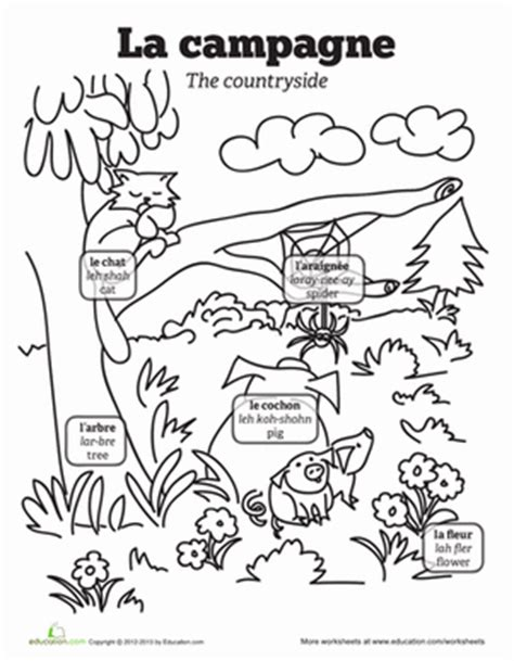 coloring pages with french words french vocabulary the countryside worksheet education com