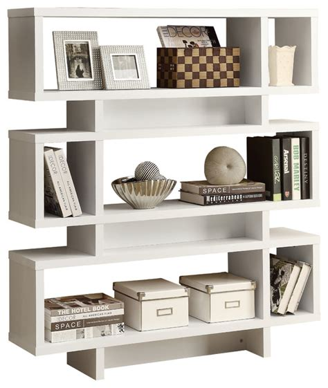 white contemporary bookcase white hollow 55 quot high modern bookcase modern