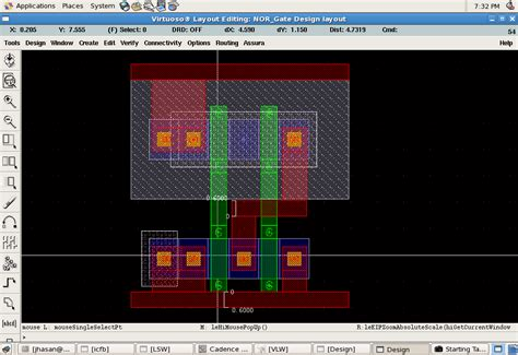 nor gate layout design nor gate custom ic skill cadence technology forums