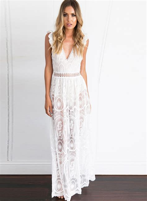 Maxi Lace v neck high waist sheer lace maxi dress azbro