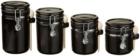 black ceramic kitchen canisters 2018 anchor hocking 4 black ceramic cl top canister set with wooden spoons marshmallowchef