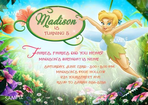 free printable disney fairies birthday invitations tinkerbell invitation with name