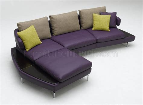Purple Leather Sofas Purple Top Grain Leather Modern Sectional Sofa Kk1183