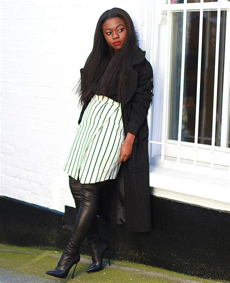 striped skirt leather thigh high boots maxi coat mirror me