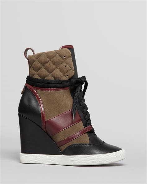 Lace Up High Top Sneakers lyst chlo 233 lace up high top wedge sneakers kasia in black