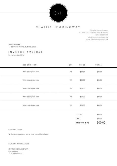25 best ideas about invoice template on pinterest
