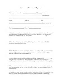 subcontracting contract template subcontractor agreement form free printable documents