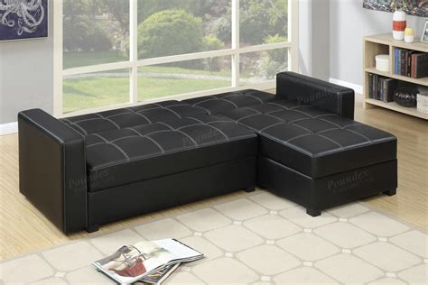 Black Sectional Sofa Bed Poundex Amala F7894 Black Leather Sectional Sofa Bed A Sofa Furniture Outlet Los Angeles Ca