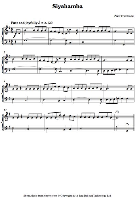 piece of music between sections of a play siyahamba zulu traditional sheet music for piano