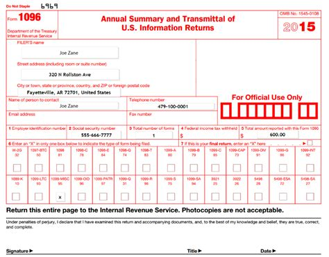 Sle 1096 Form Filled Out | sle 1096 form filled out how to file a form 1099 misc in