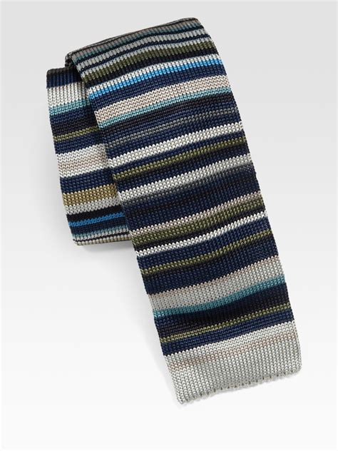 silk knit ties paul smith striped silk knit tie in multicolor for
