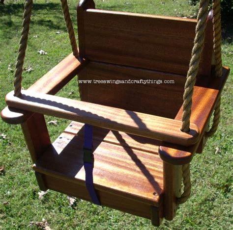 wooden child swing seat sapele kids seat tree swing