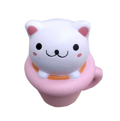 Kawaii Squishy Cat In Cup Cofee Squishy Squeeze Cat Coffee Pink Cup Scented Charm