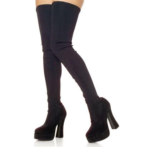 Kaos Shoes Spandex Bigsize black lycra ele3000 b lyr pleaser big size thigh high boots for travesty boots crossdresser