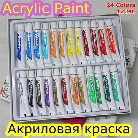 24 colors 12ml acrylic paint set color nail glass painting water resistant paint for