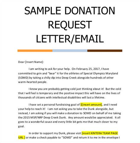 Donation Letter Email sle sponsorship request letter donation request email