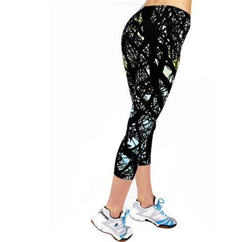 colorful pattern yoga pants black sports gym yoga 7 8 pants colorful pattern leggings