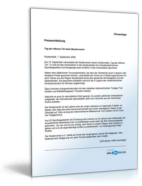 Vorlage Word Pressemitteilung Pressemitteilung Tag Der Offenen T 252 R Sportverein Muster Zum