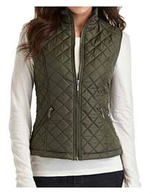 zipper closure womens green quilted vest ujackets