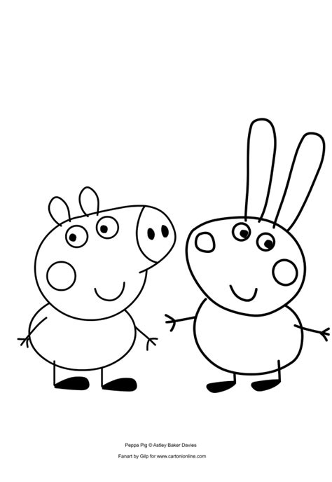 peppa pig george coloring page george pig and richard rabbit coloring pages