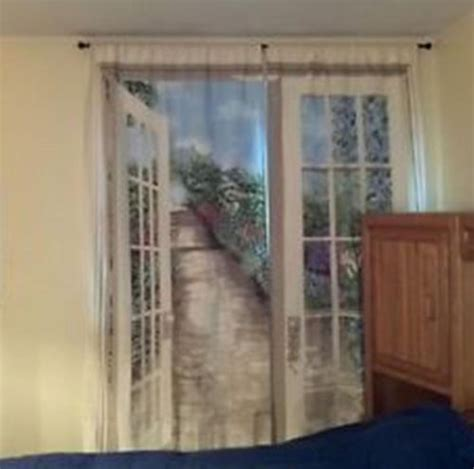 window art curtains english garden trompe l oeil window art curtains drapes