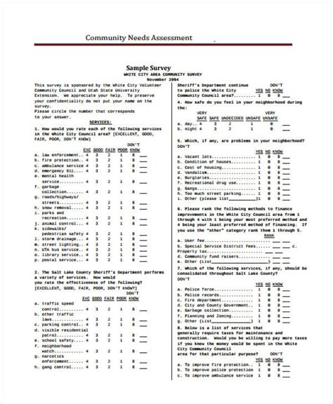 needs assessment survey template needs assessment form template