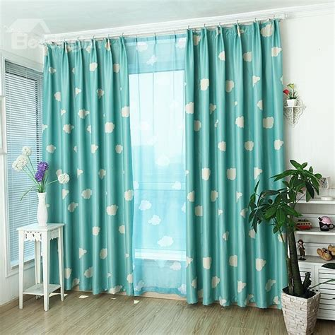 double pleat curtains cartoon clouds print custom blue double pinch pleat