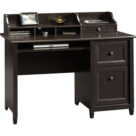 black desk edge water computer desk with hutch estate black finish