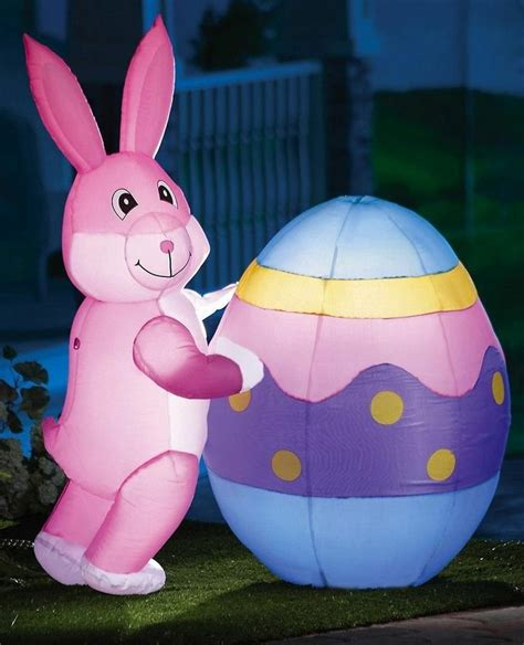 easter bunny and egg lighted outdoor inflatable yard decor