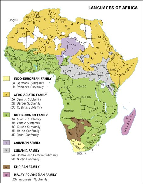 africa map of languages maps languages lehman college 2013