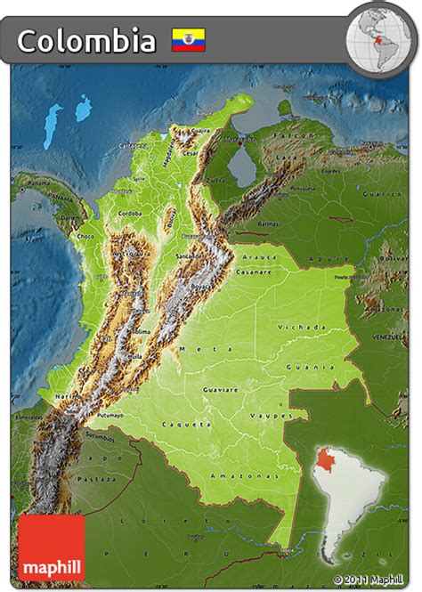 physical map of colombia free physical map of colombia darken
