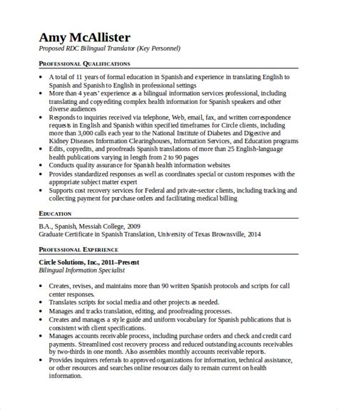 Translator Resume Template by 4 Bilingual Resume Templates Pdf Doc Free Premium