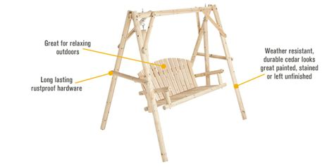 swing features two person cedar fir log swing model ss csn 2ps swings