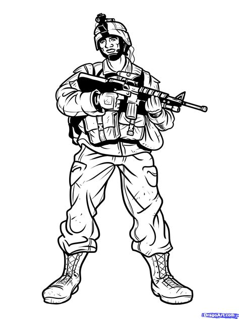 Soldier Drawing Outline by How To Draw Army Soldier Drawing Sketch Coloring Page