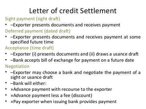 Letter Of Credit At Sight And Usance Types Of Letter Of Credits On 11 09 2012