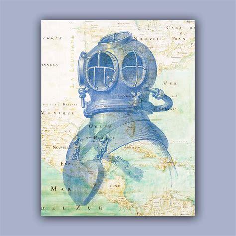 Diving Helmet Print Diver Poster - nautical print diver helmet print 11x14 print vintage image