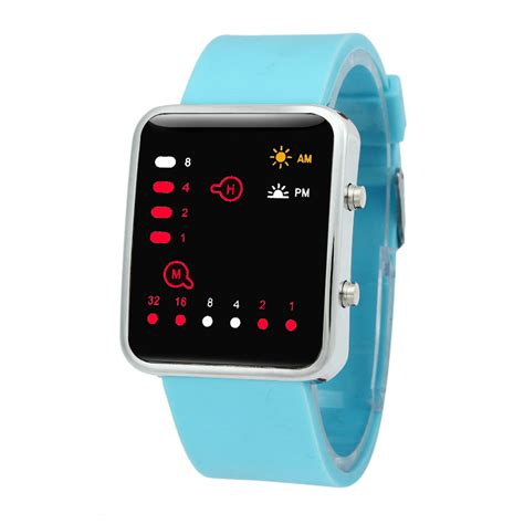 Led Digital womens watches digital led sports binary silicone wristwatches