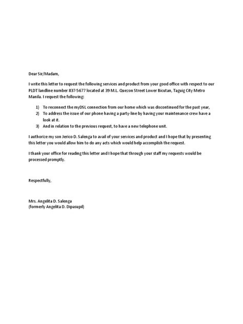 Request Letter For Transfer Of Line Pldt Reconnection Letter
