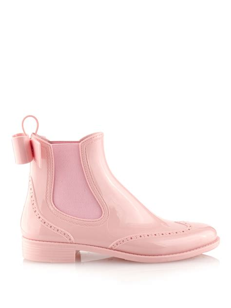 Heels Chelsea Bow Sandals by Valentino Bow Rubber Chelsea Boots In Pink Lyst