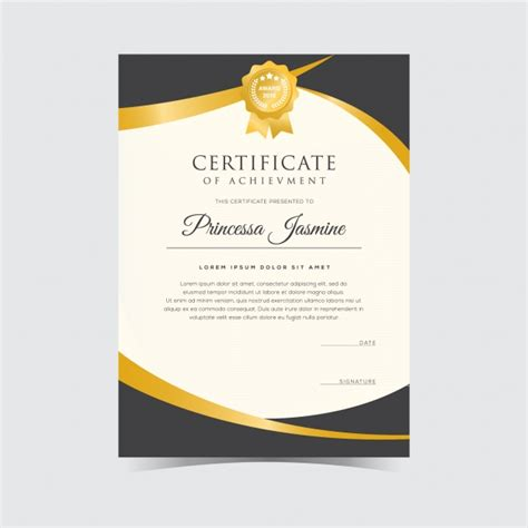 free certificate templates for golden certificate template vector free