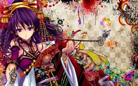 anime girl tattoo hd wallpaper anime girl purple hair purple eyes tattoo wallpaper