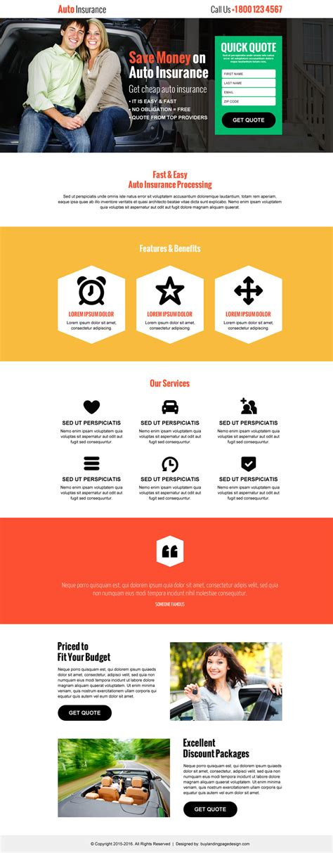 landing page design templates best landing pages to capture auto insurance leads and