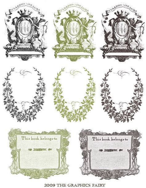 bookplate template free printable vintage bookplates the graphics