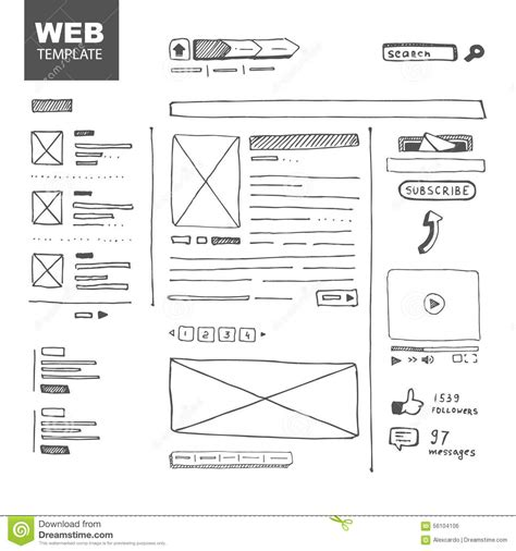 Web Page Sketch Stock Vector Image Of Vector Prototype 56104106 Sketch Website Template Free