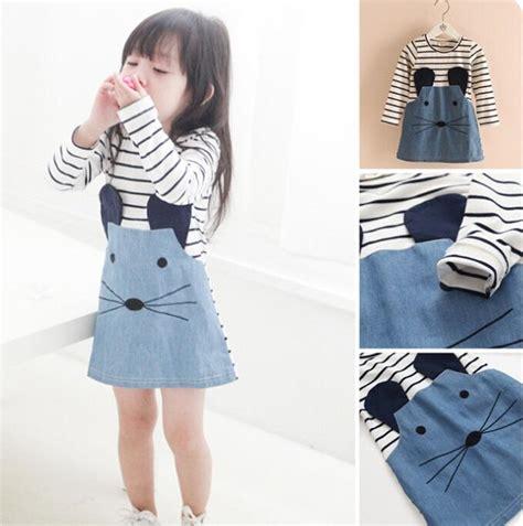 Cat Blue Dress 2017 baby cat denim dress cat stripes