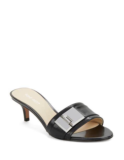 kitten heel sandals nine west yulenia leather kitten heel sandals in black lyst