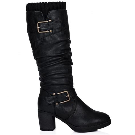 buy haka heeled buckle knee high slouch boots black
