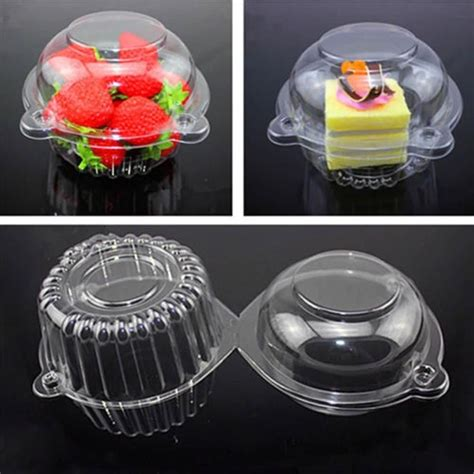 100pcs cake boxes for birthday gift box clear plastic single cupcake cake
