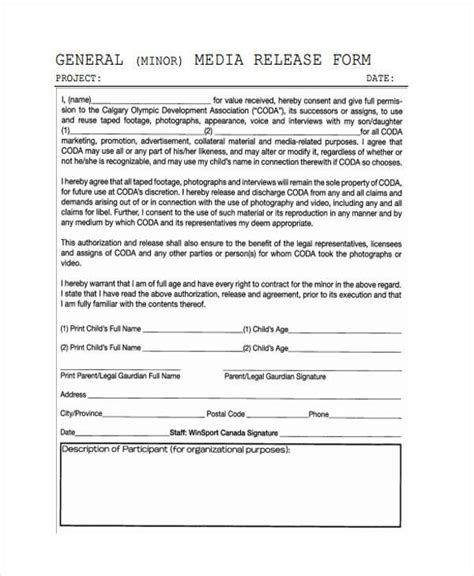 Release Form Templates General Media Release Form Template
